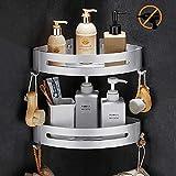 Duschablage, Bogeer Duschregal ohne Bohren mit Haken und Magic Sticker, Multifunktions Dusche Ablage Duschkorb Duschaufbewahrung - Aluminium duschregal eckregal (Doppelschicht)